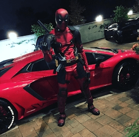 Chris Brown dresses up as Wade Wilson of Deadpool for Halloween